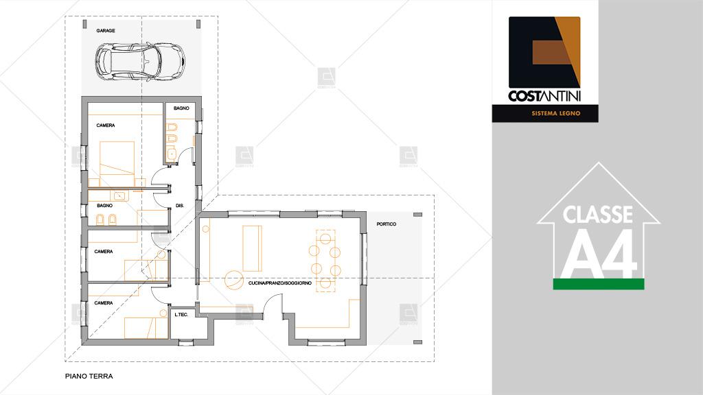 Planimetria della costruzione Casa in Legno modello C125-E | Linea Elegance di COSTANTINI LEGNO - L.A. COST