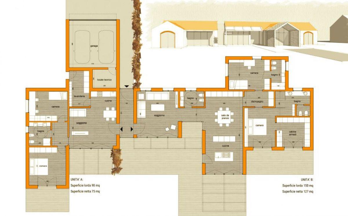 Planimetria della costruzione Casa in Legno modello Villa bifamiliare  di Building Evolution