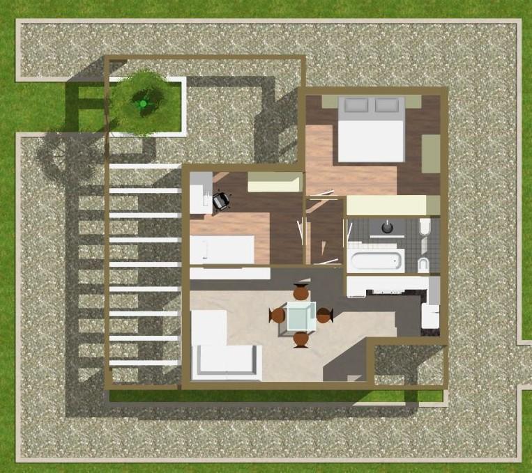 Planimetria della costruzione Casa in Legno modello  di WOOD HOUSE