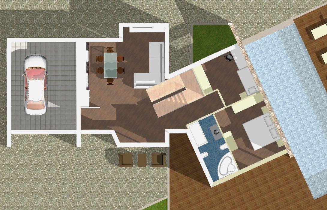 Planimetria della costruzione Casa in Legno modello Monofamiliare Bipiano Moderna di WOOD HOUSE