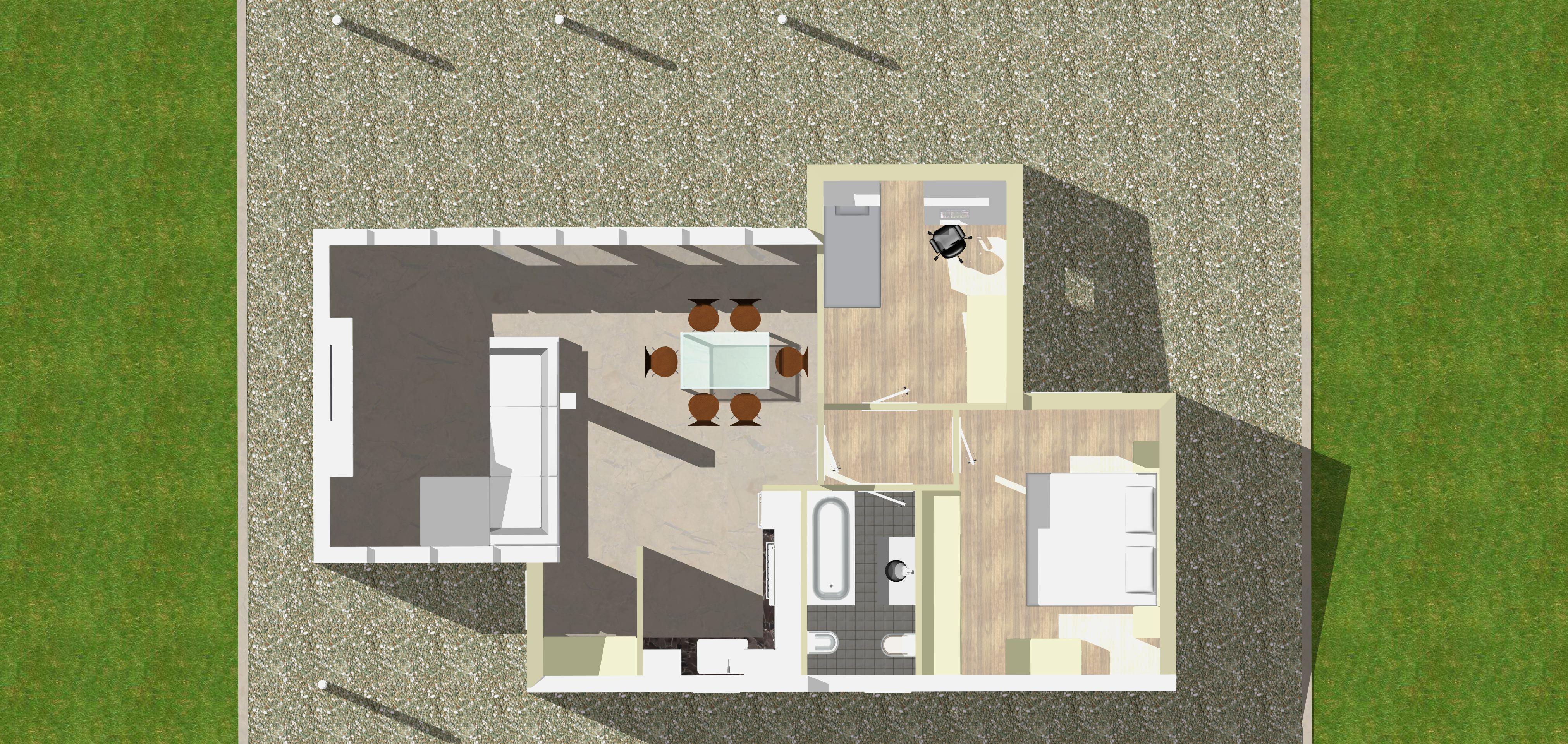 Planimetria della costruzione Casa in Legno modello Monofamiliare Moderna Monopiano di WOOD HOUSE