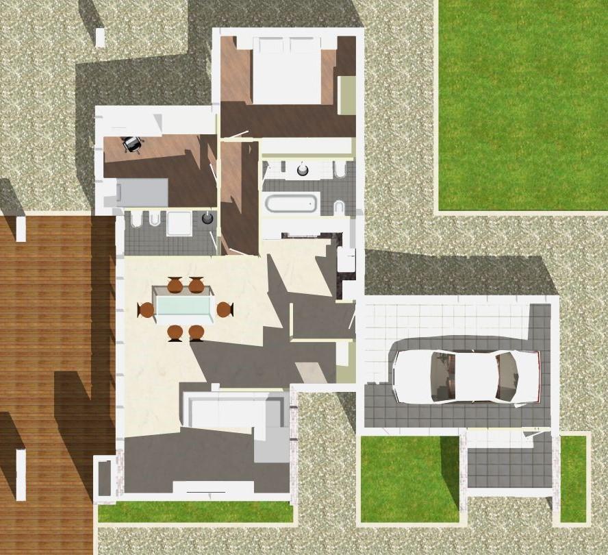 Planimetria della costruzione Casa in Legno modello Monofamiliare Monopiano Moderna di WOOD HOUSE