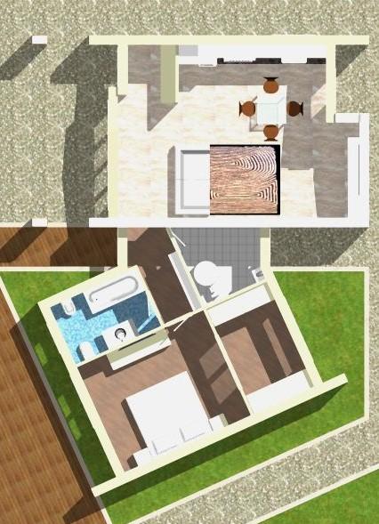 Planimetria della costruzione Casa in Legno modello Monofamiliare Tradizionale Monopiano di WOOD HOUSE
