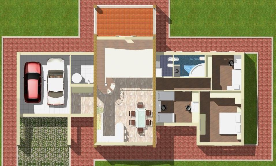 Planimetria della costruzione Casa in Legno modello Bipiano monofamiliare tradizionale di WOOD HOUSE