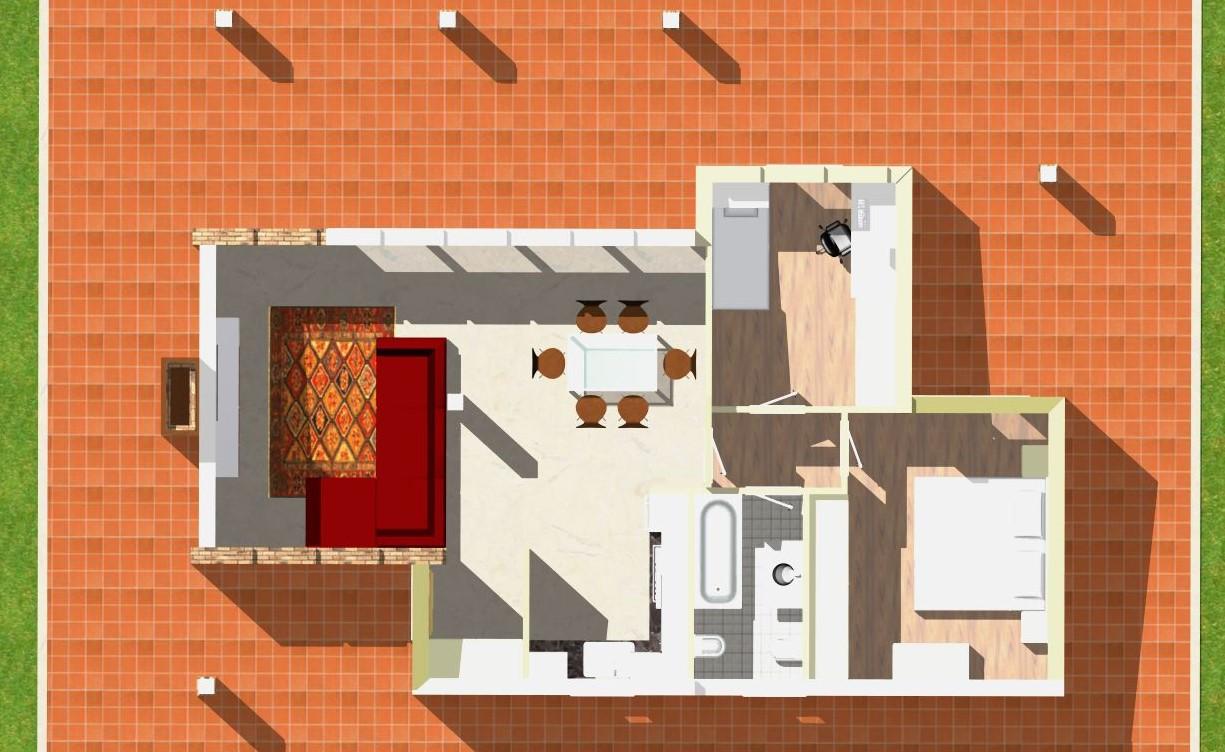 Planimetria della costruzione Casa in Legno modello Monofamiliare Monopiano Tradizionale di WOOD HOUSE