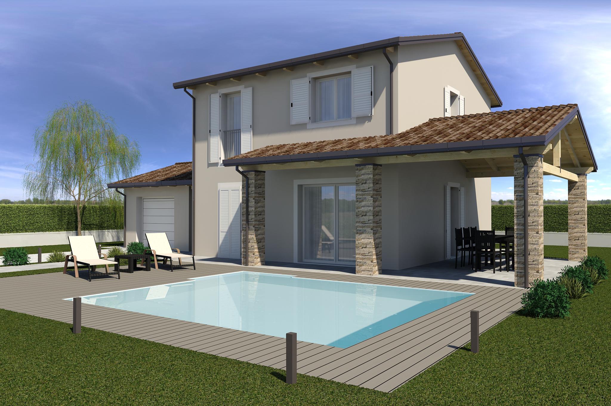Planimetria della costruzione Casa in Legno modello ECO 195 di ECOHOUSE srl