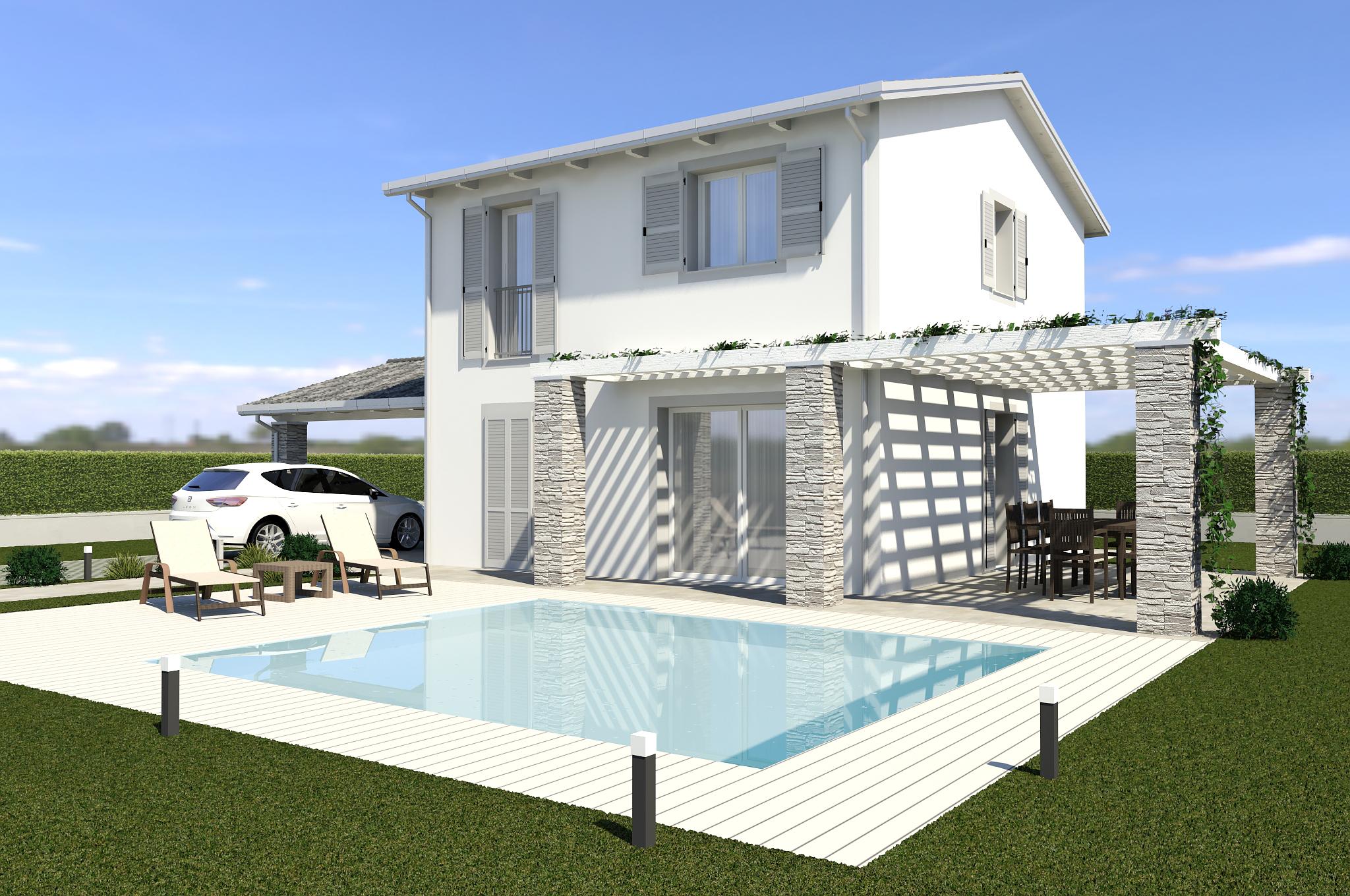 Planimetria della costruzione Casa in Legno modello ECO 165 di ECOHOUSE srl