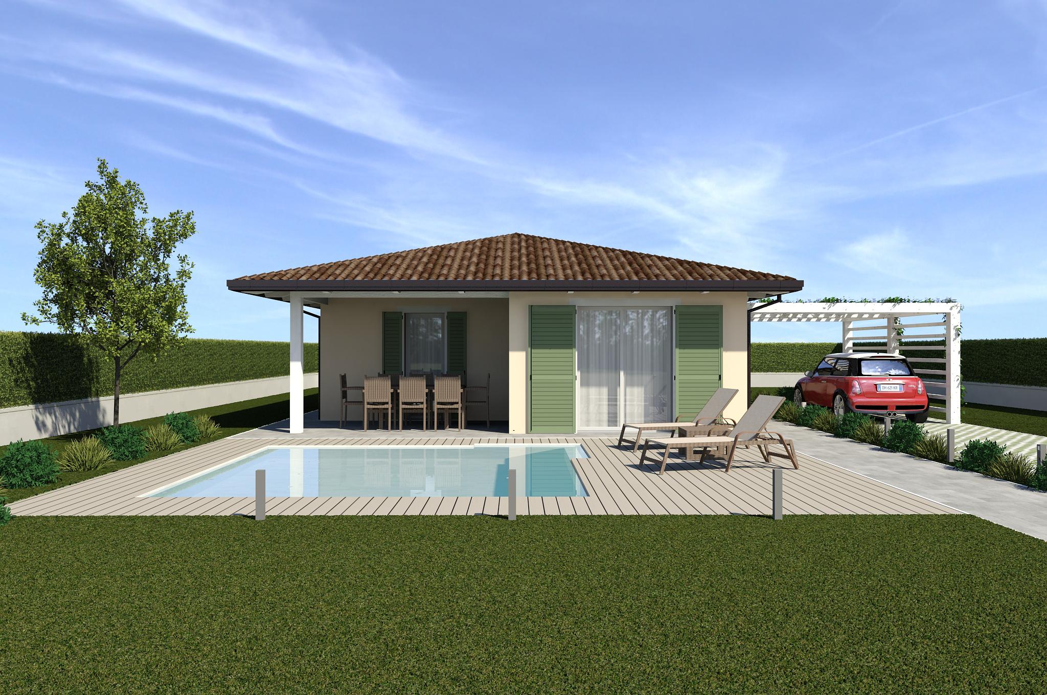 Planimetria della costruzione Casa in Legno modello ECO 120 di ECOHOUSE srl