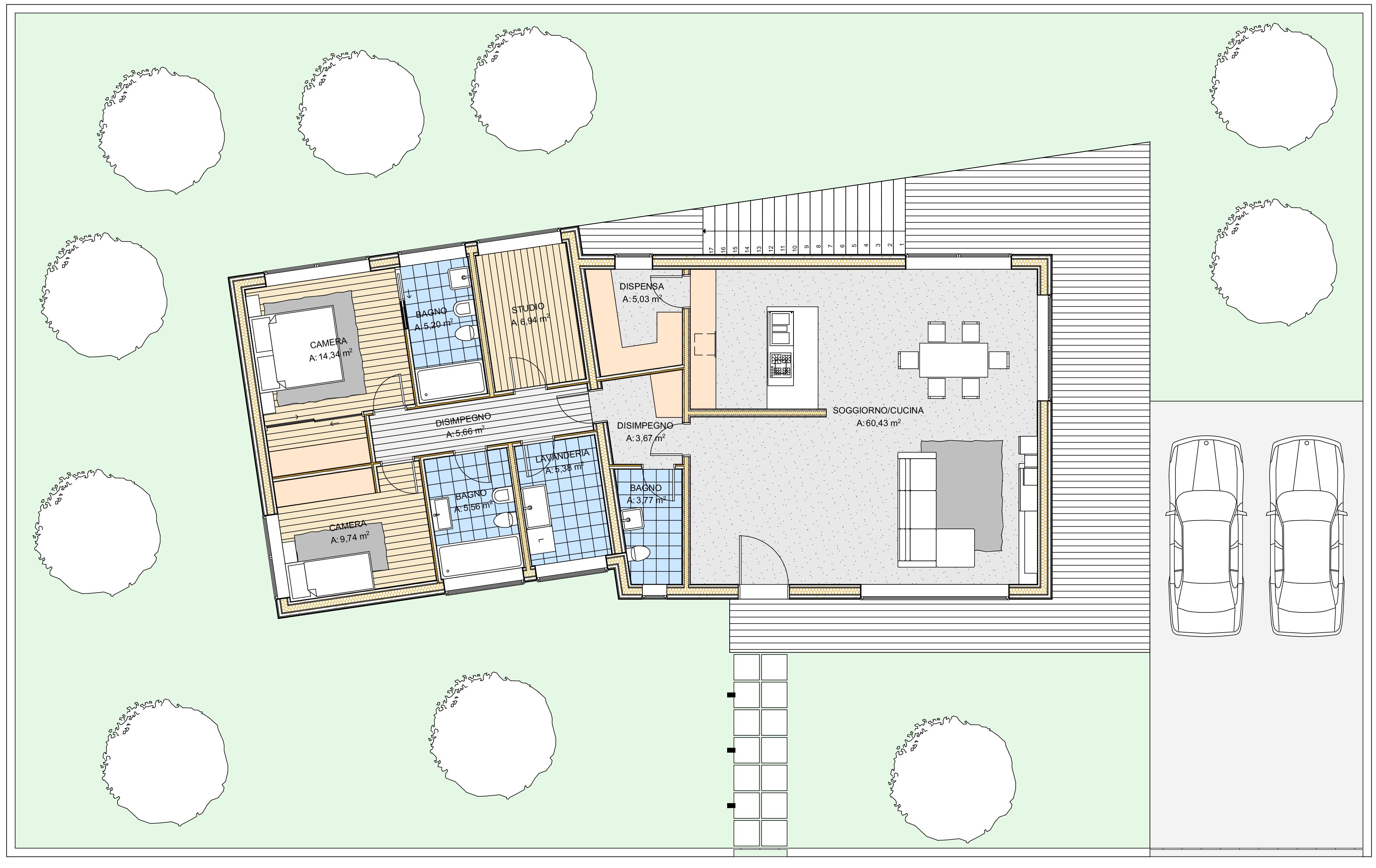 Planimetria della costruzione Casa in Legno modello Martina di Estia House oü