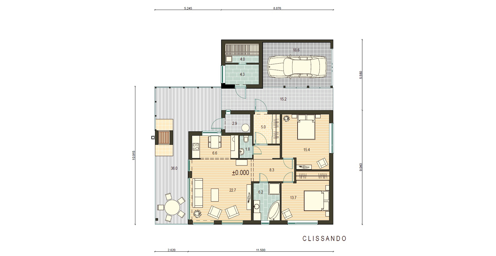 Planimetria della costruzione Casa in Legno modello Clissando di Estia House oü