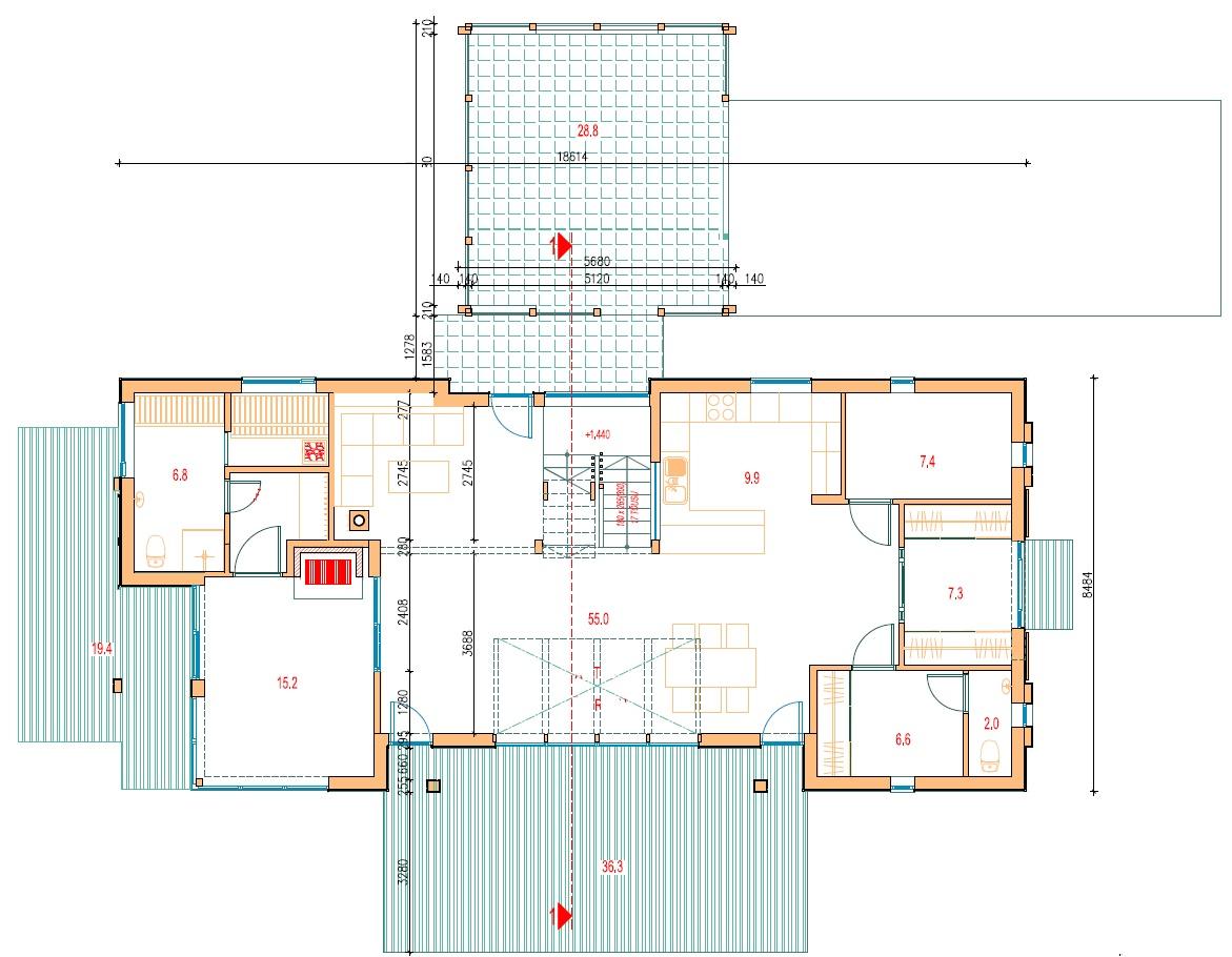 Planimetria della costruzione Casa in Legno modello Symphony di Estia House oü