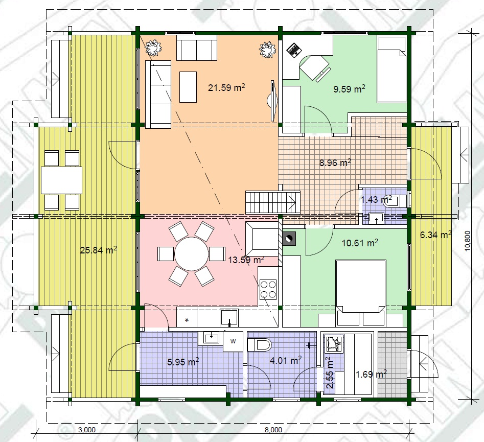 Planimetria della costruzione Casa in Legno modello Hommik di Estia House oü