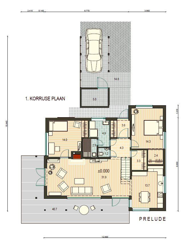 Planimetria della costruzione Casa in Legno modello Prelude di Estia House oü