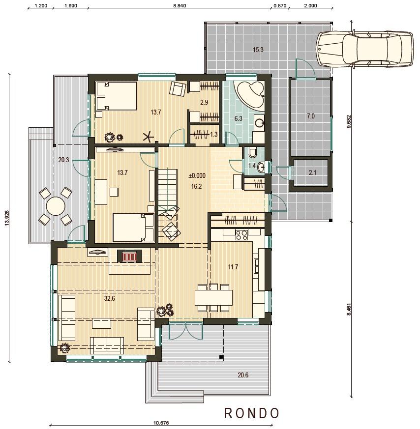 Planimetria della costruzione Casa in Legno modello Rondo di Estia House oü