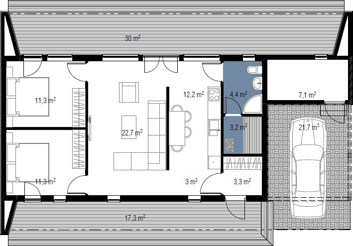 Planimetria della costruzione Casa in Legno modello Gerald di Estia House oü
