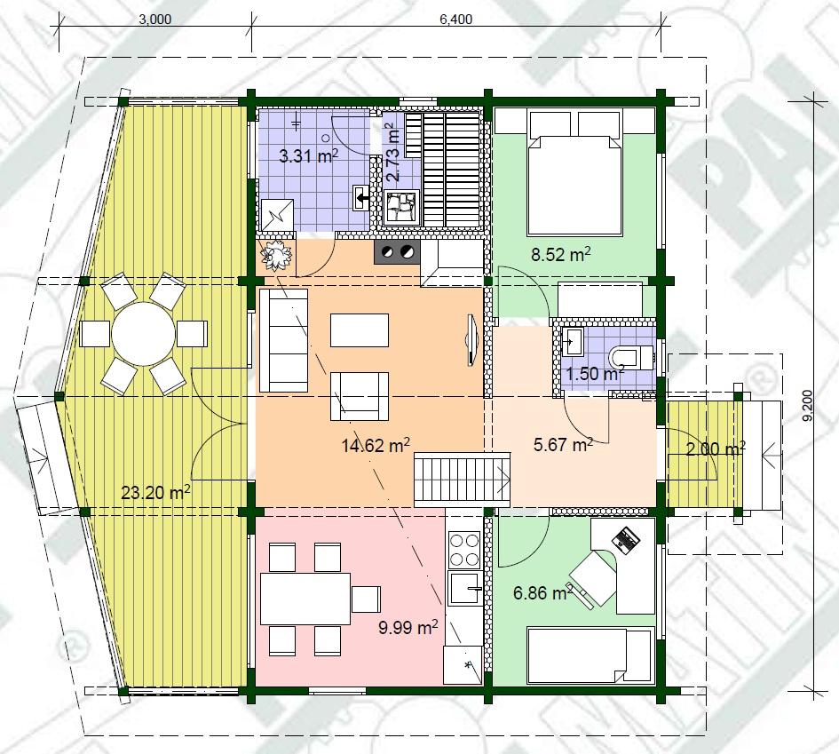 Planimetria della costruzione Casa in Legno modello Sinilill di Estia House oü