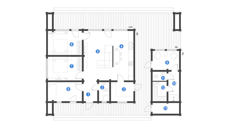 Planimetria della costruzione Casa in Legno modello Gregor di Estia House oü
