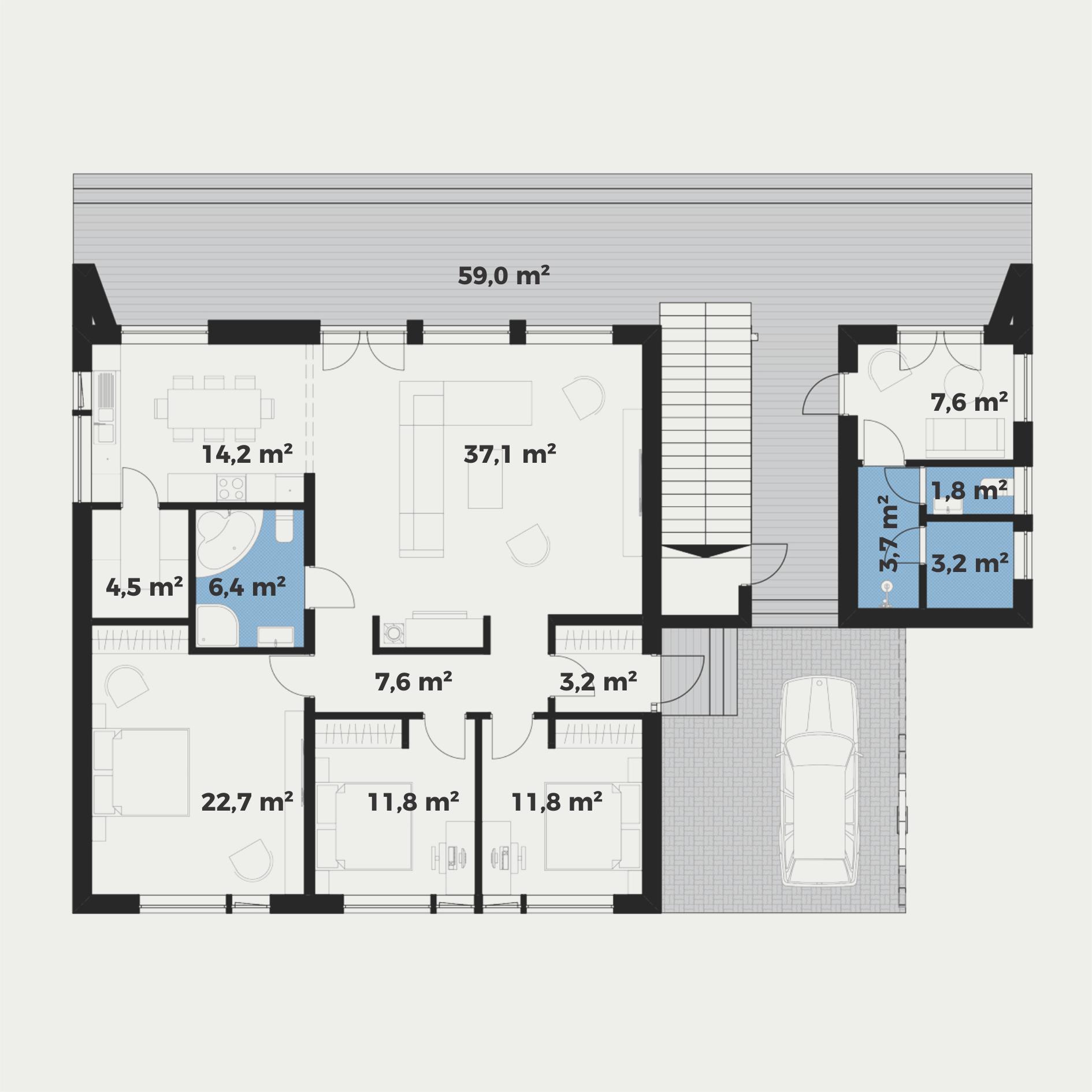 Planimetria della costruzione Casa in Legno modello Oscar di Estia House oü
