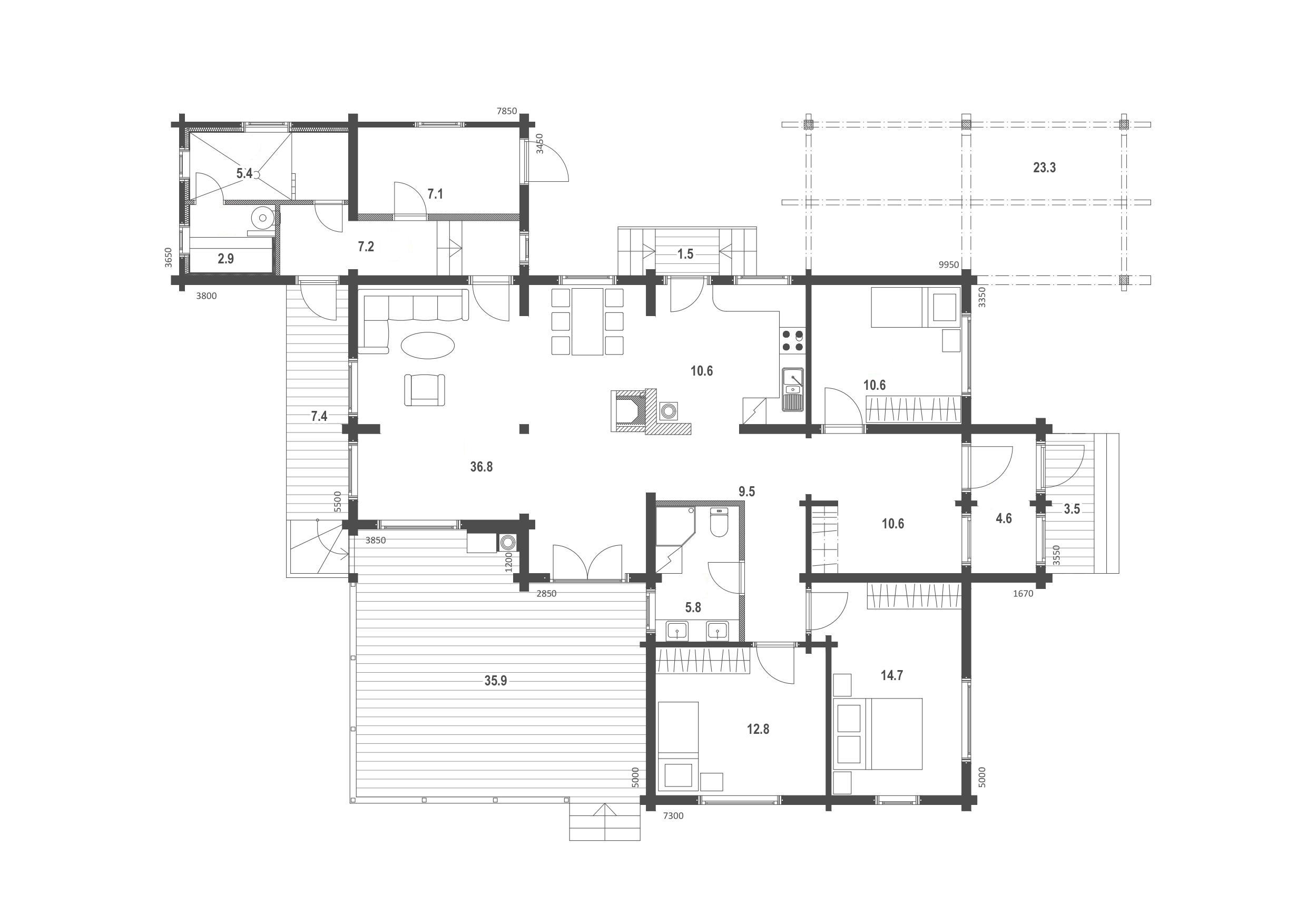 Planimetria della costruzione Casa in Legno modello Eike di Estia House oü