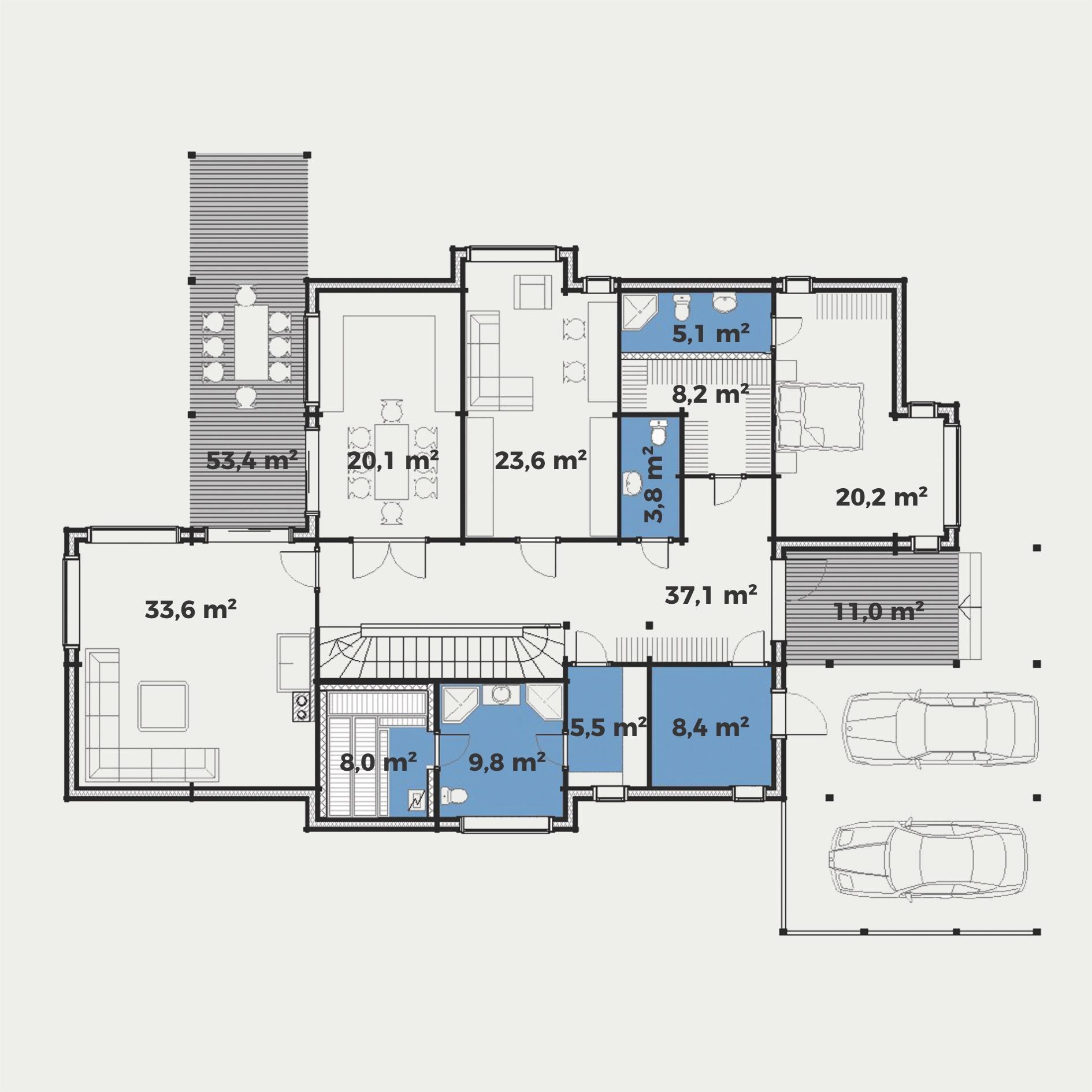 Planimetria della costruzione Casa in Legno modello Maria di Estia House oü