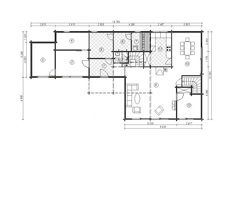 Planimetria della costruzione Casa in Legno modello Sofia di Estia House oü