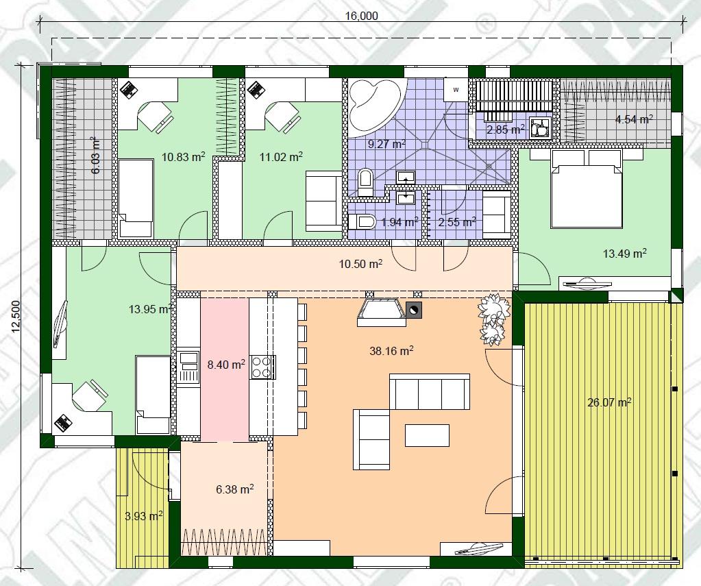 Planimetria della costruzione Casa in Legno modello Kask di Estia House oü
