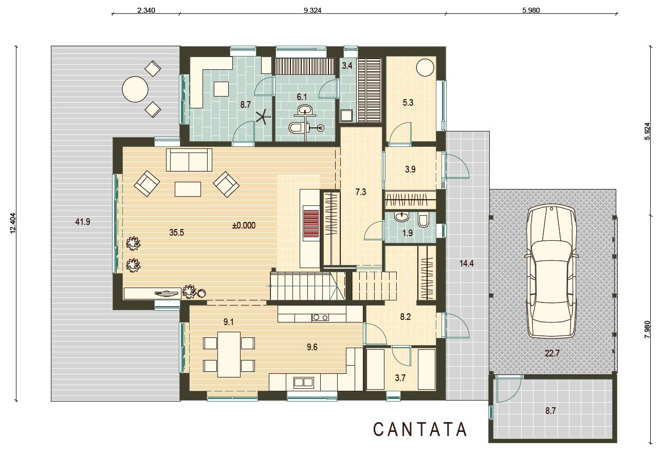Planimetria della costruzione Casa in Legno modello Cantata di Estia House oü