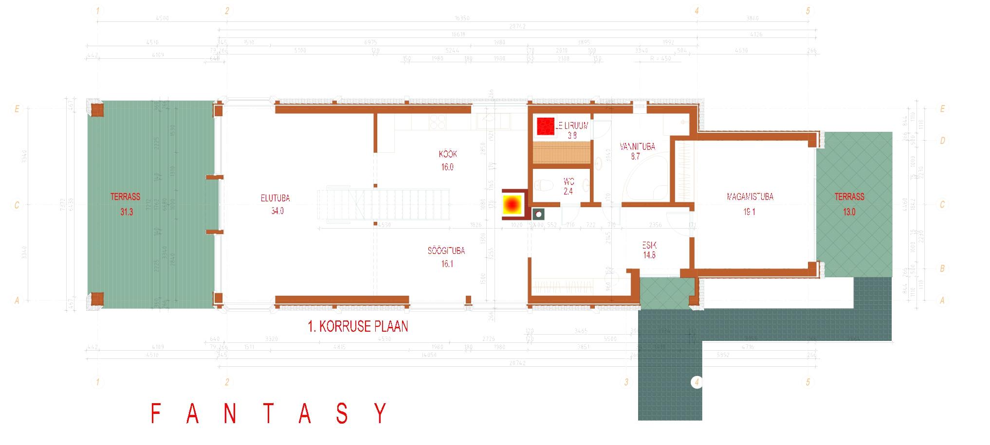 Planimetria della costruzione Casa in Legno modello Fantasy di Estia House oü