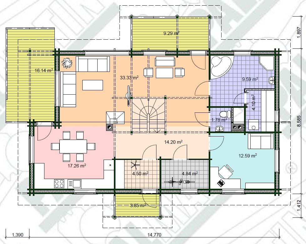 Planimetria della costruzione Casa in Legno modello Märt di Estia House oü