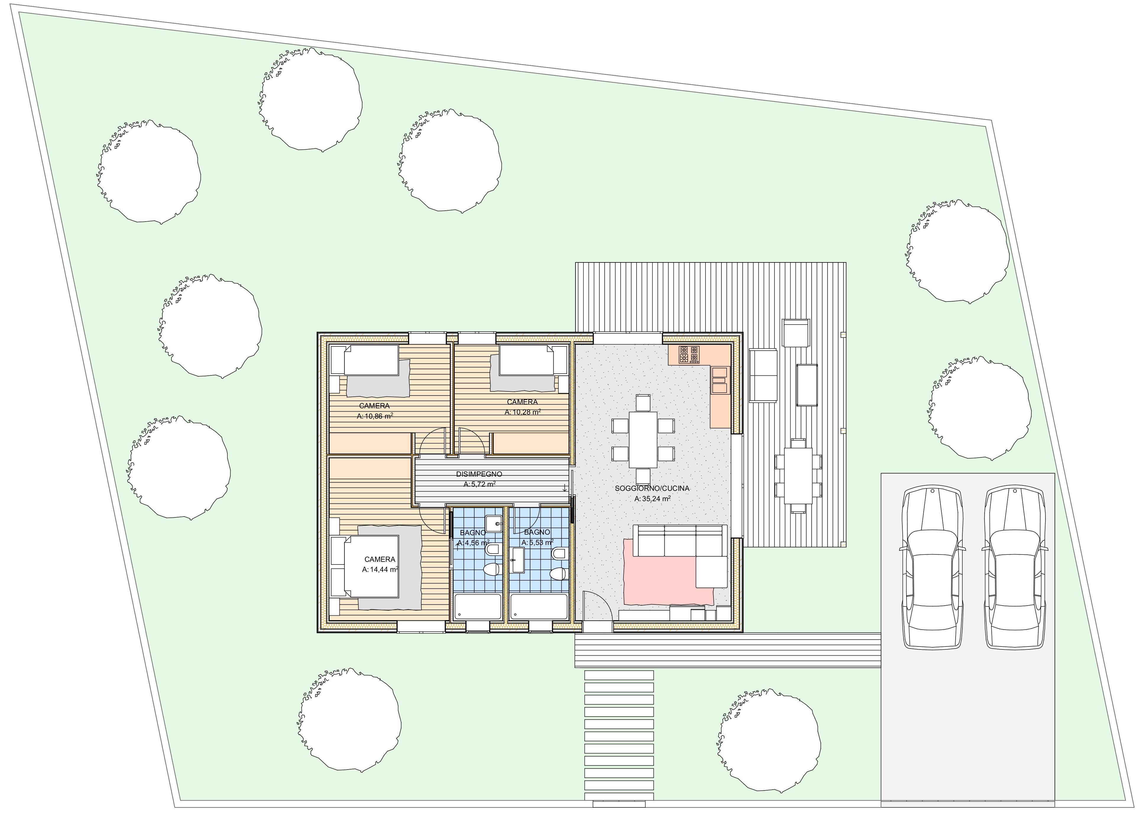 Planimetria della costruzione Casa in Legno modello Edoardo di Estia House oü