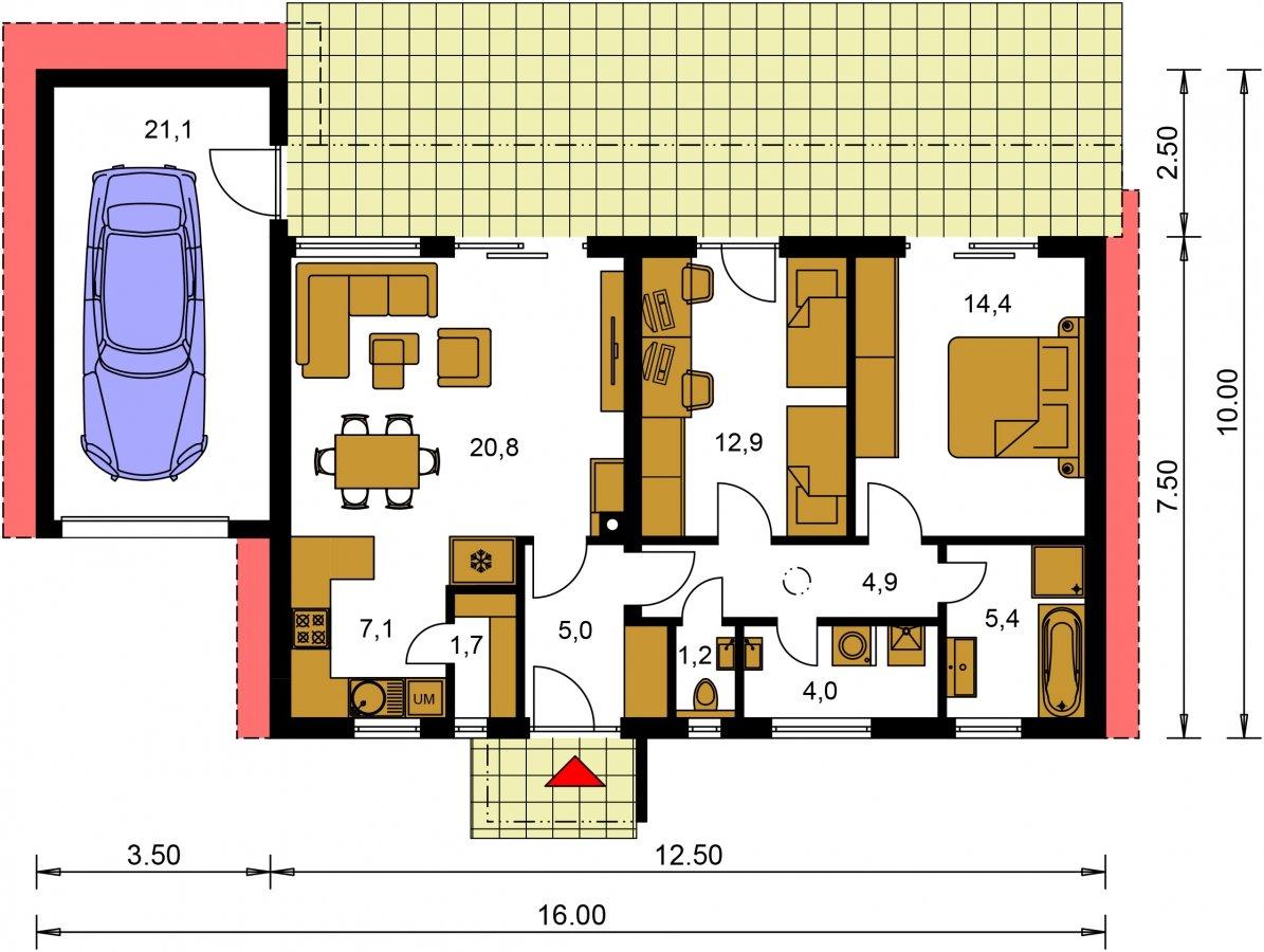 Planimetria della costruzione Casa in Legno modello Vera di Edilbiocasa