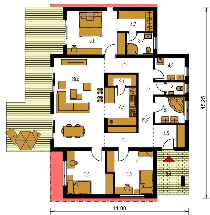 Planimetria della costruzione Casa in Legno modello Marta di Edilbiocasa