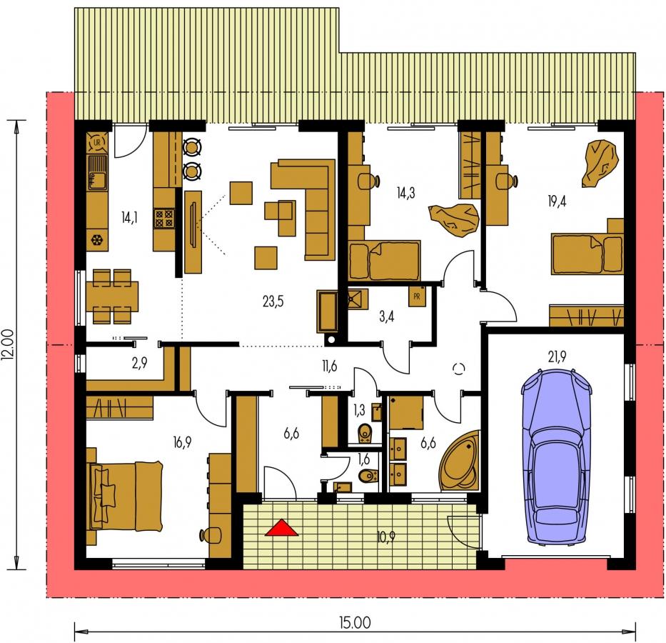 Planimetria della costruzione Casa in Legno modello Chiara di Edilbiocasa
