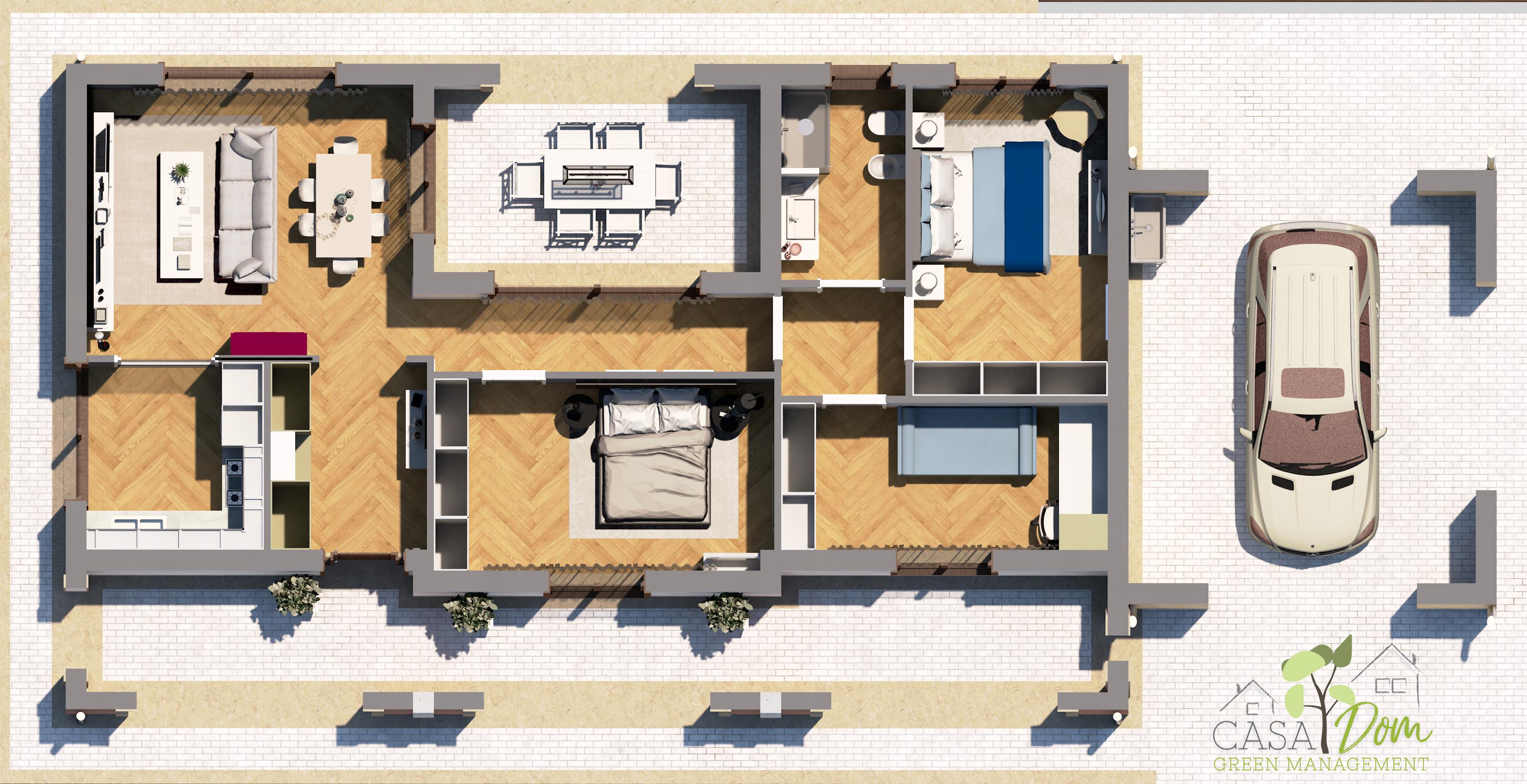 Planimetria della costruzione Casa in Legno modello Villa Luisa di CASA Dom