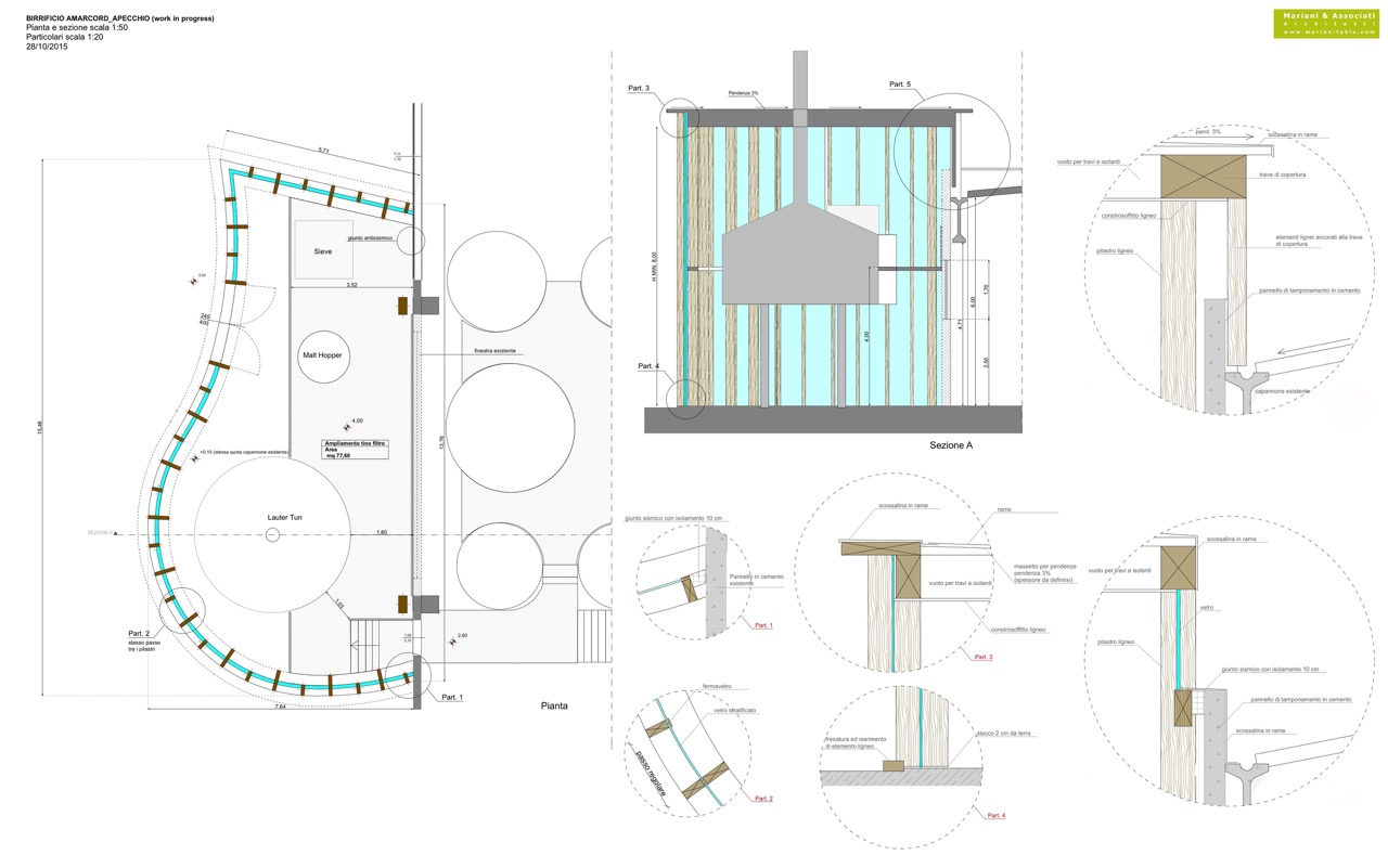 Planimetria della costruzione Ampliamento in Legno modello Ampliamento Birrificio Amarcord di Progettolegno srl