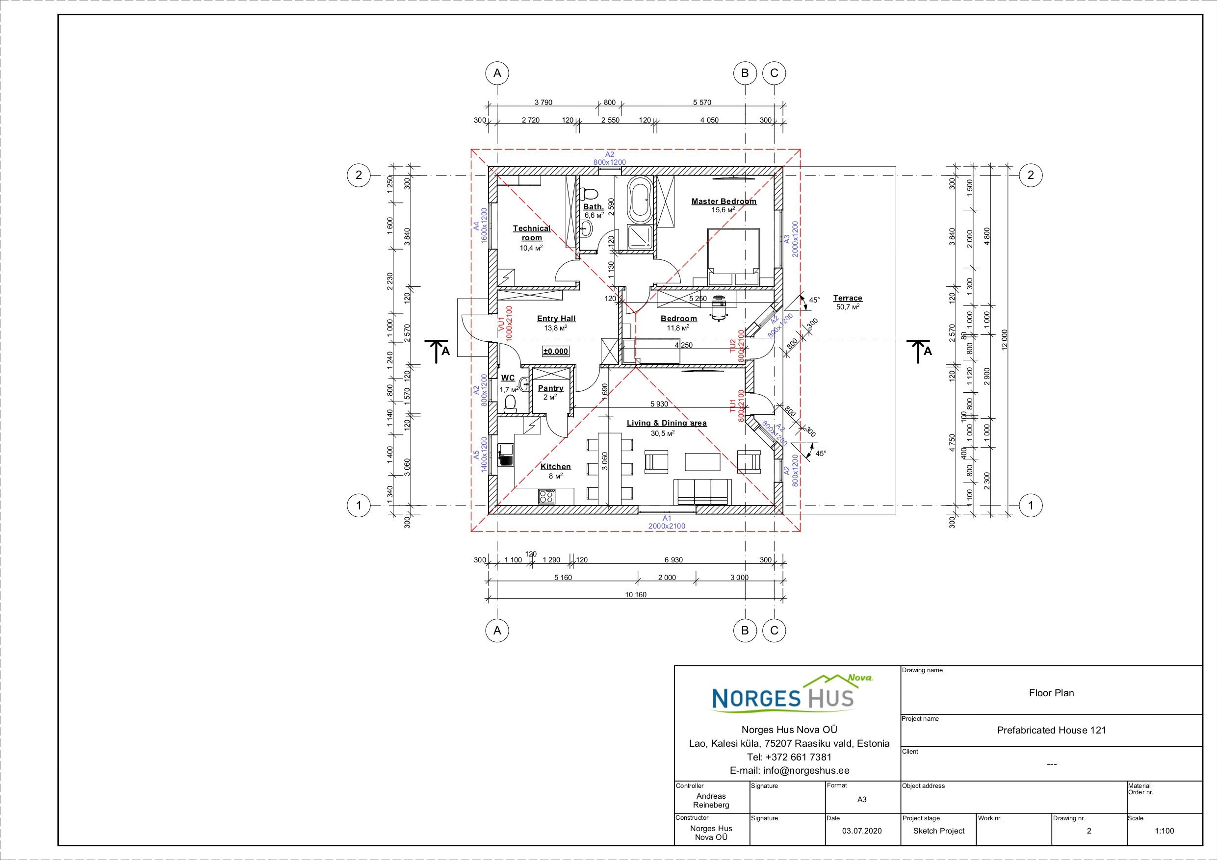 Planimetria della costruzione Casa in Legno modello MODELLO 121 di NORGES HUS