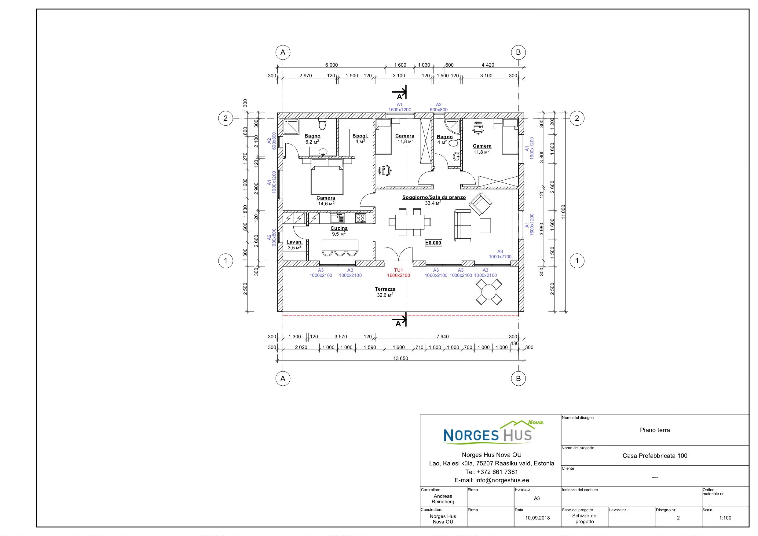 Planimetria della costruzione Casa in Legno modello MODELLO 150 di NORGES HUS