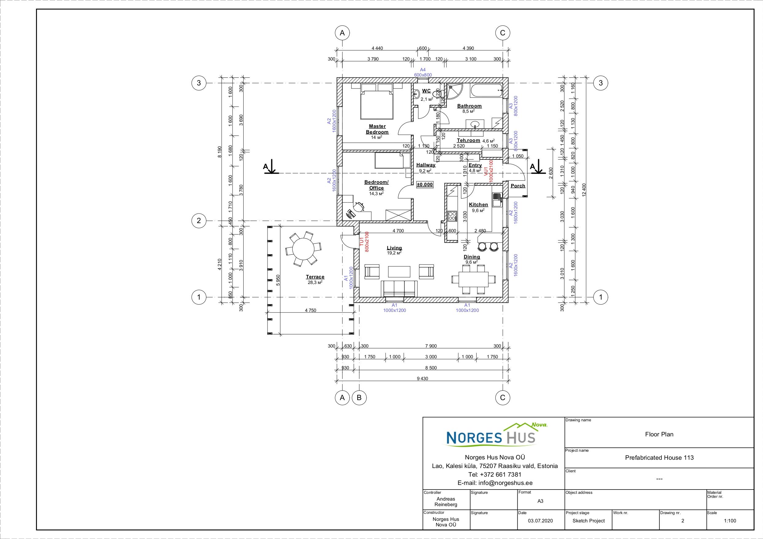 Planimetria della costruzione Casa in Legno modello MODELLO 102 di NORGES HUS
