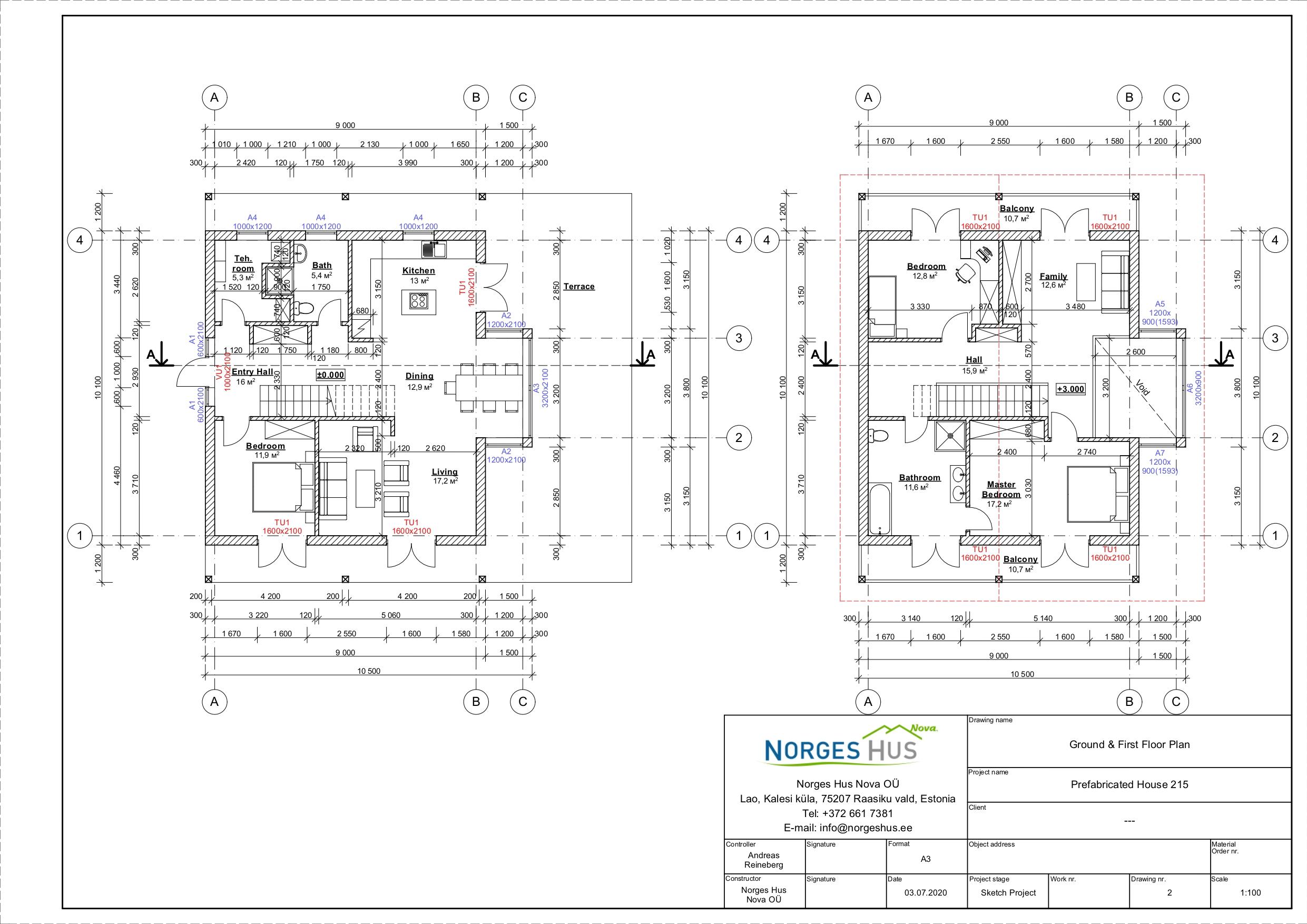 Planimetria della costruzione Casa in Legno modello MODELLO 215 di NORGES HUS