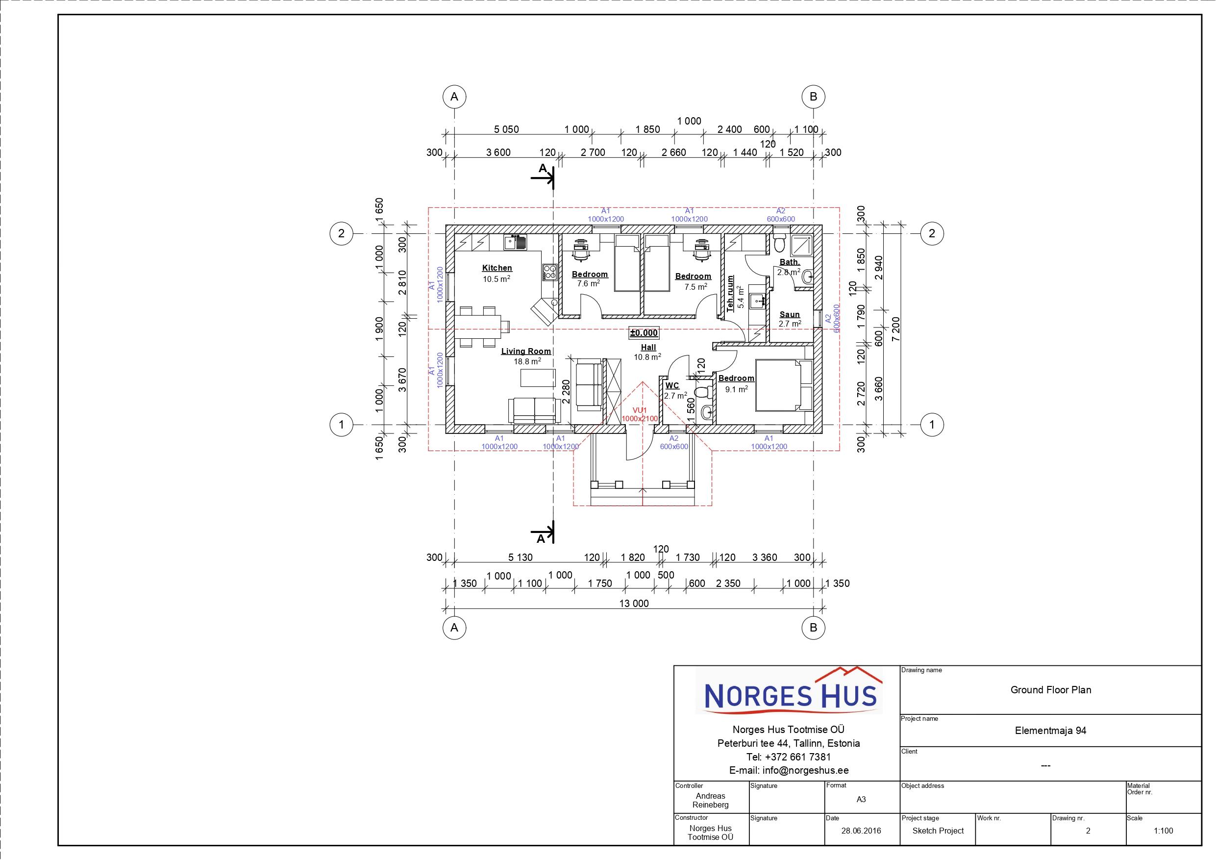 Planimetria della costruzione Casa in Legno modello MODELLO 94 di NORGES HUS
