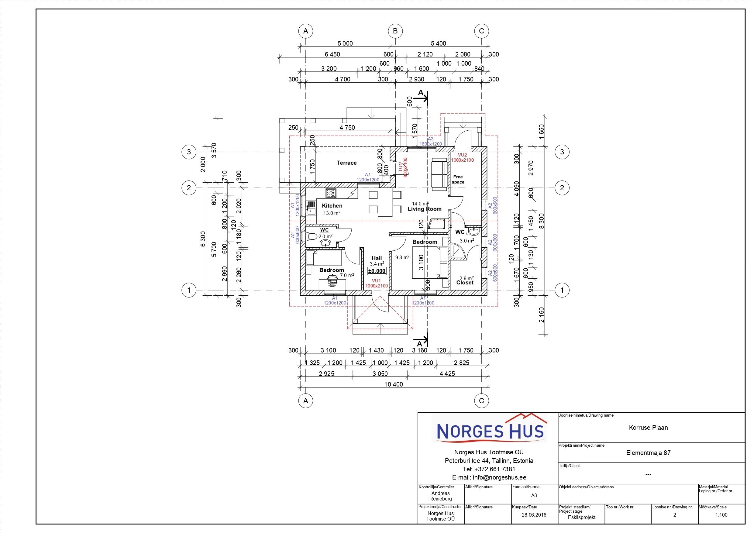 Planimetria della costruzione Casa in Legno modello MODELLO 87 di NORGES HUS