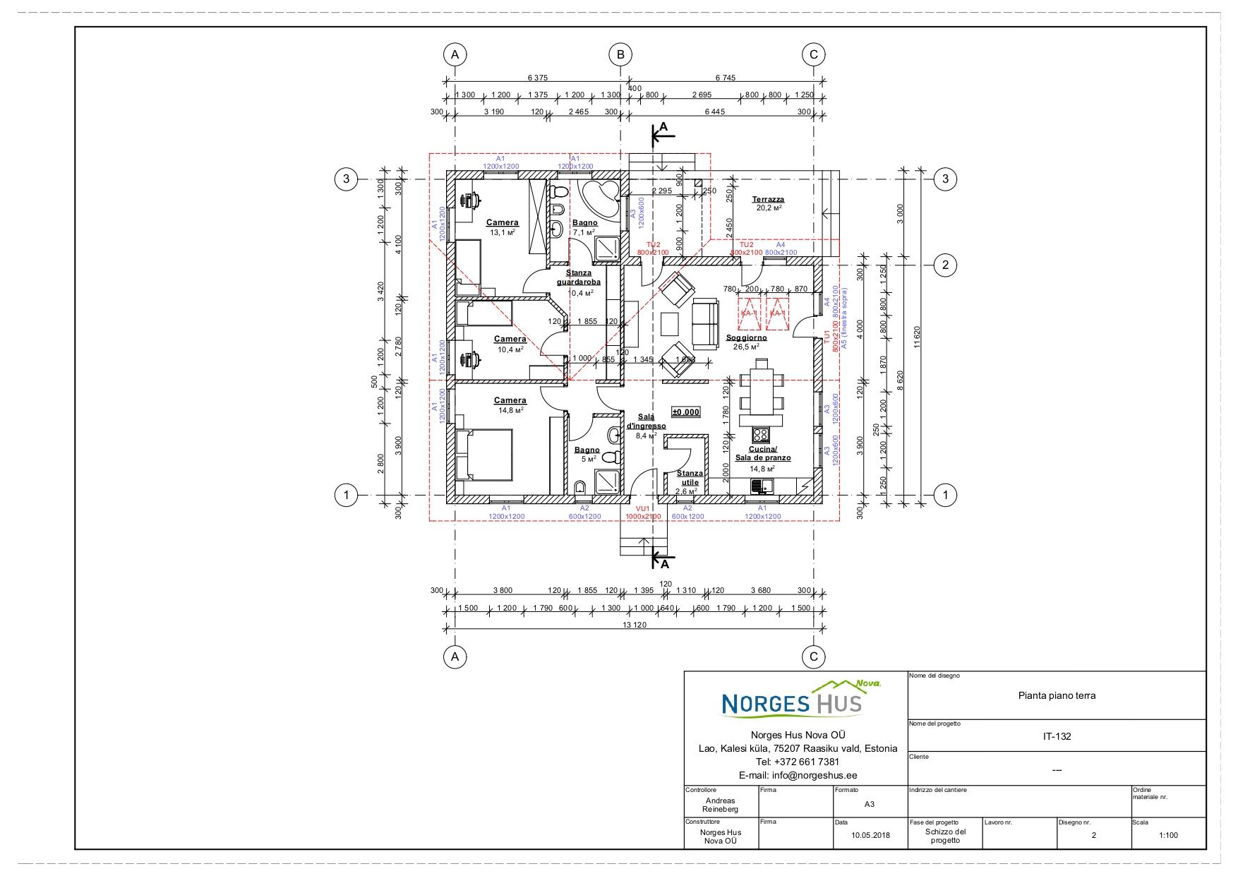 Planimetria della costruzione Casa in Legno modello MODELLO 132 di NORGES HUS