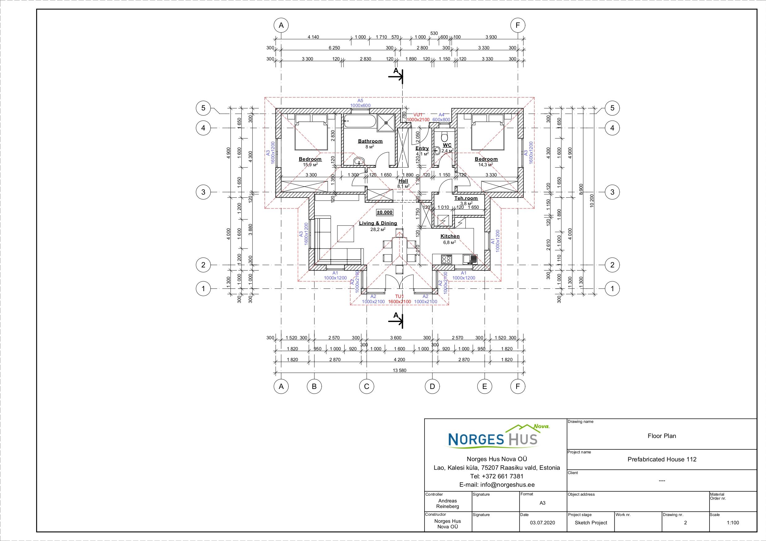 Planimetria della costruzione Casa in Legno modello MODELLO 112 di NORGES HUS