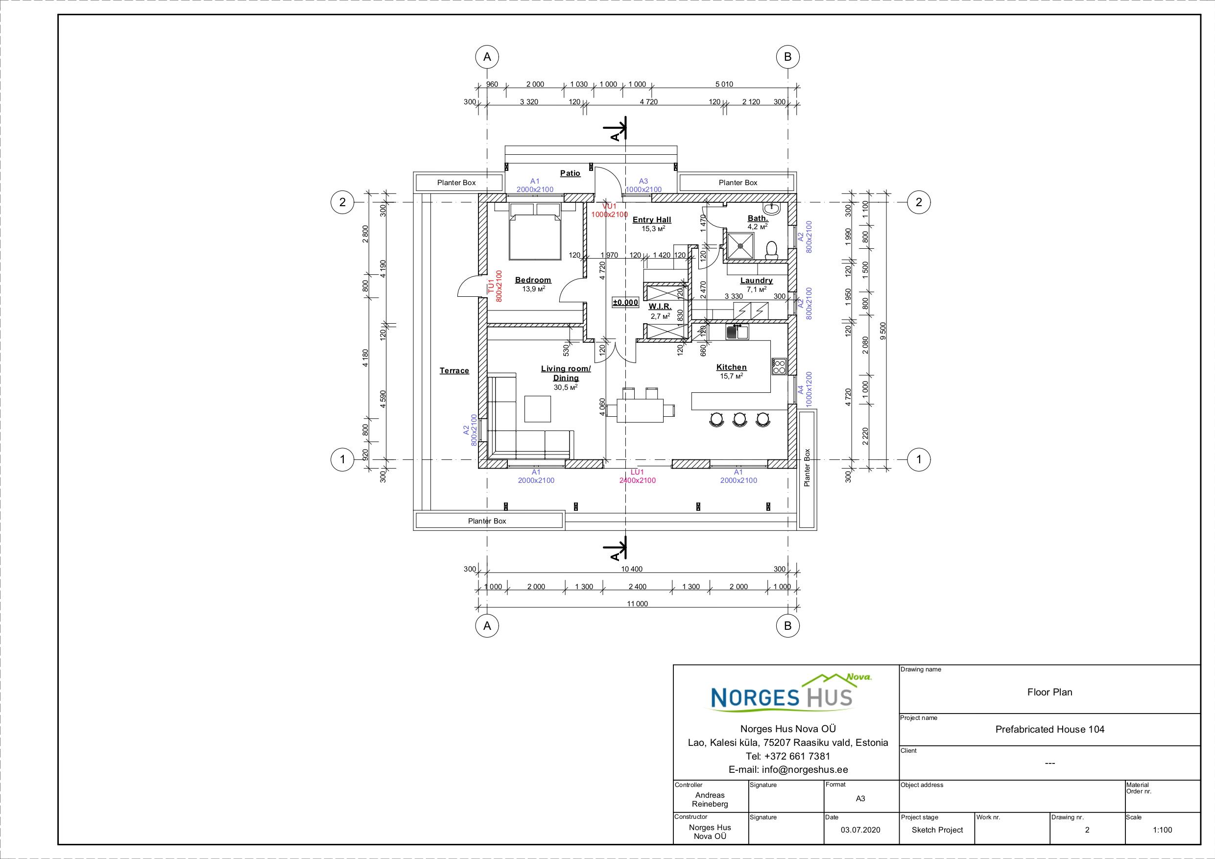 Planimetria della costruzione Casa in Legno modello MODELLO 104 di NORGES HUS