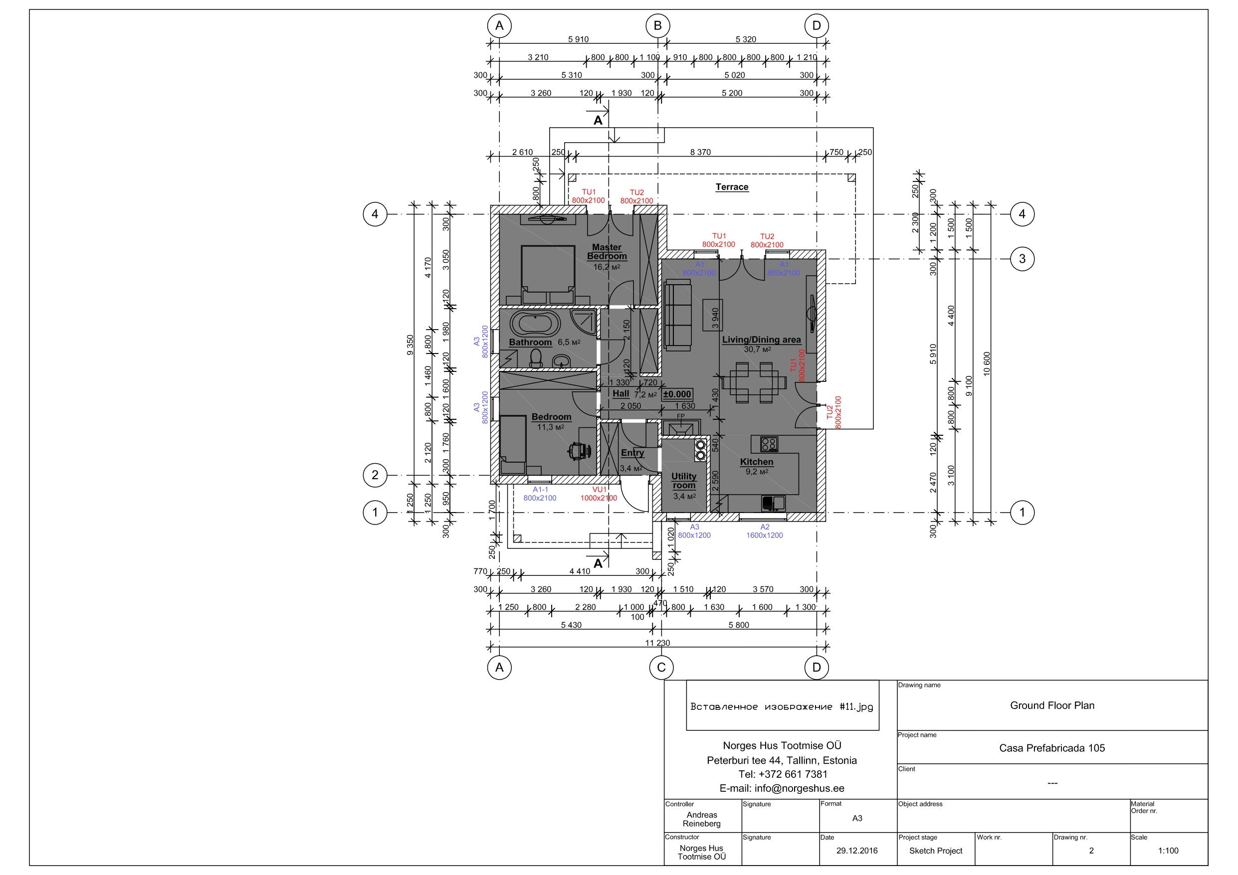 Planimetria della costruzione Casa in Legno modello MODELLO 105 di NORGES HUS