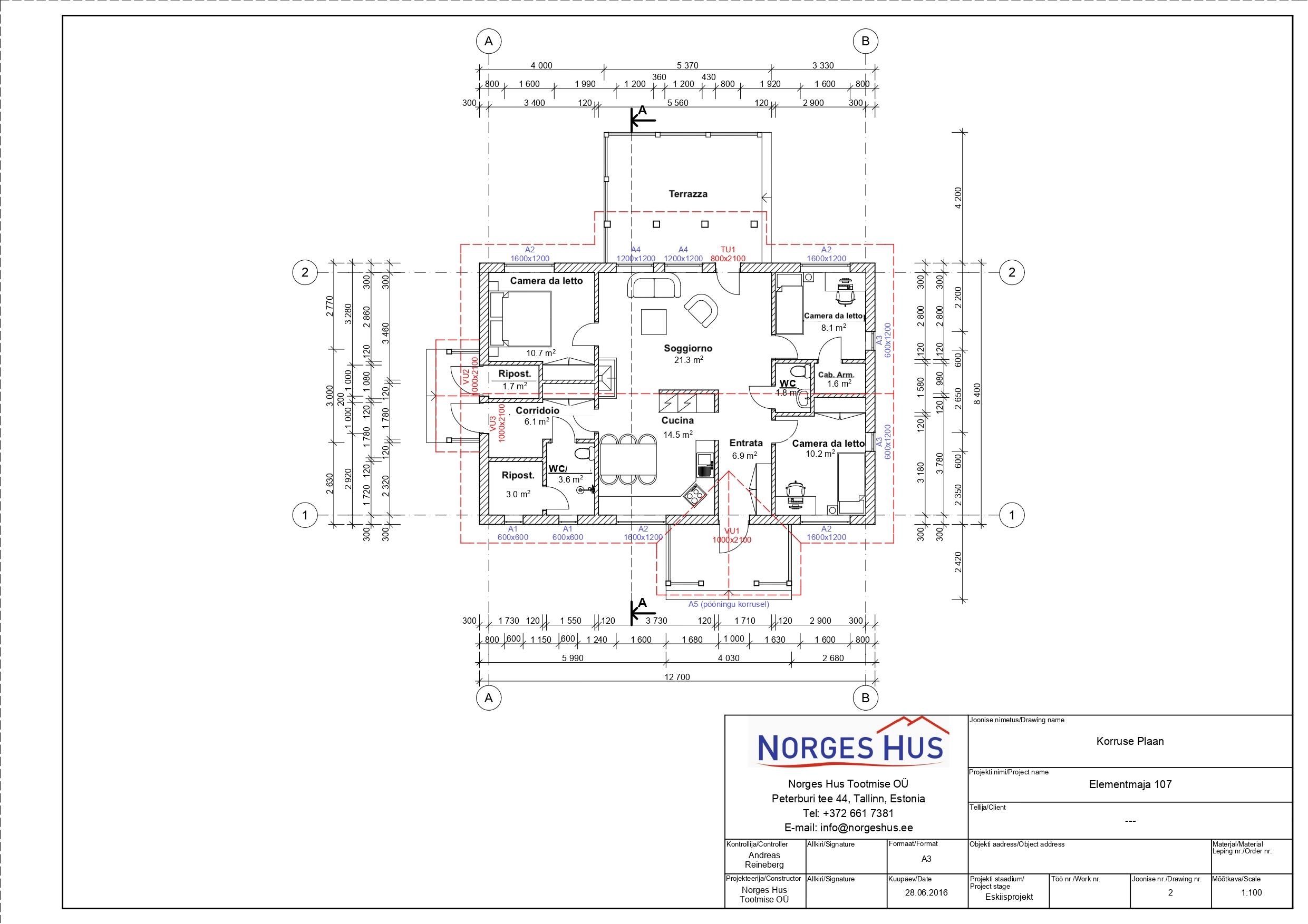 Planimetria della costruzione Casa in Legno modello MODELLO 107 di NORGES HUS