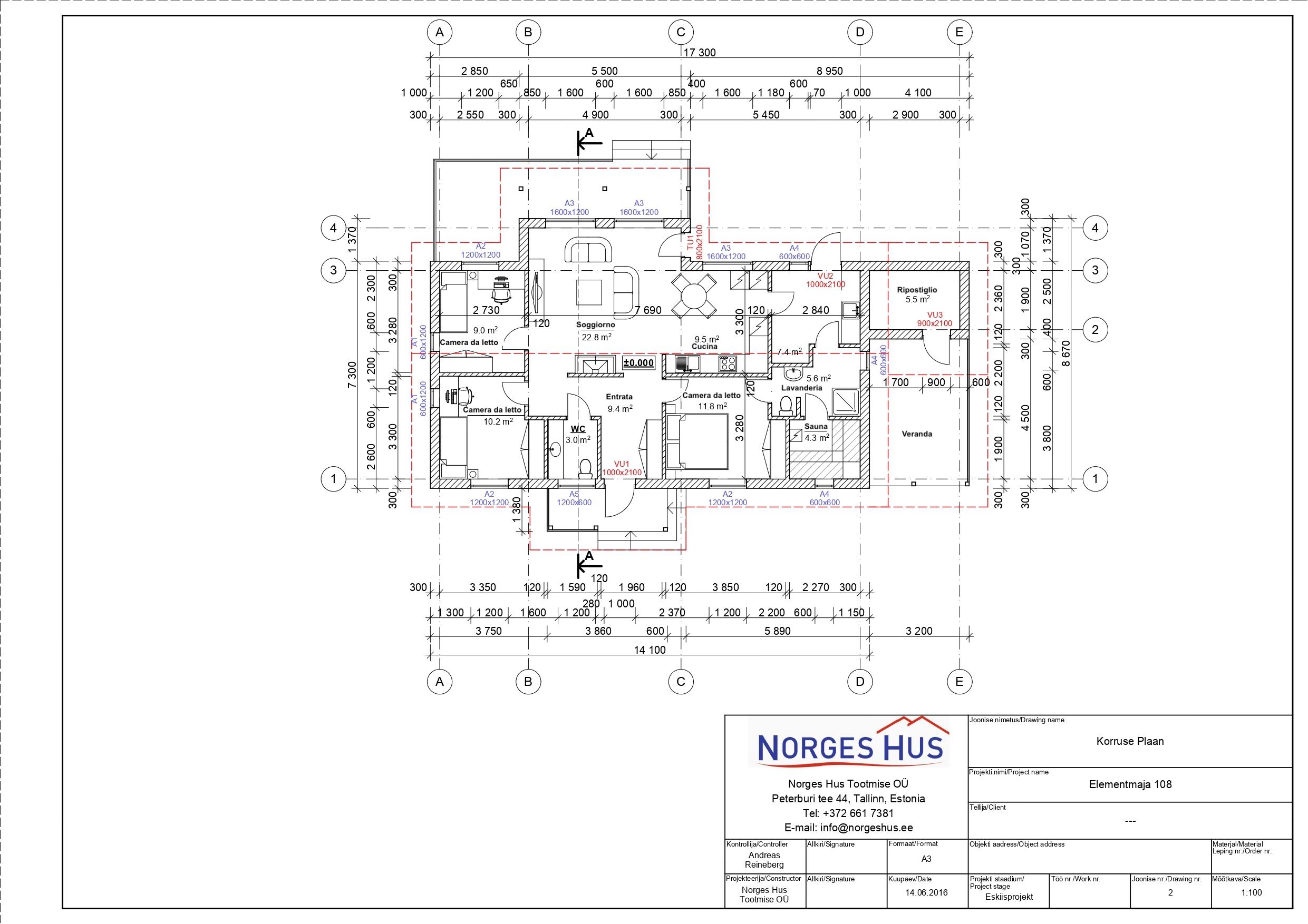 Planimetria della costruzione Casa in Legno modello MODELLO 108 di NORGES HUS