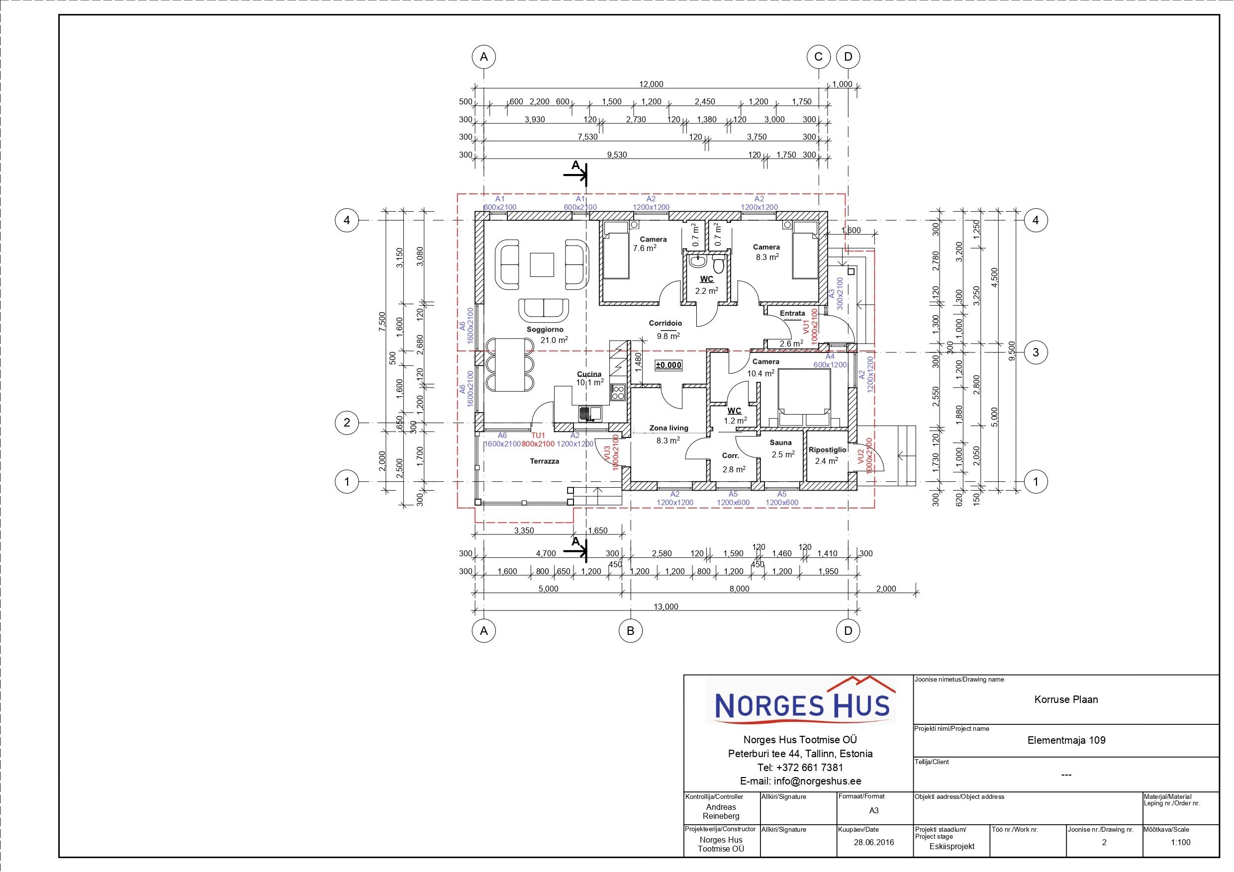 Planimetria della costruzione Casa in Legno modello MODELLO 109 di NORGES HUS