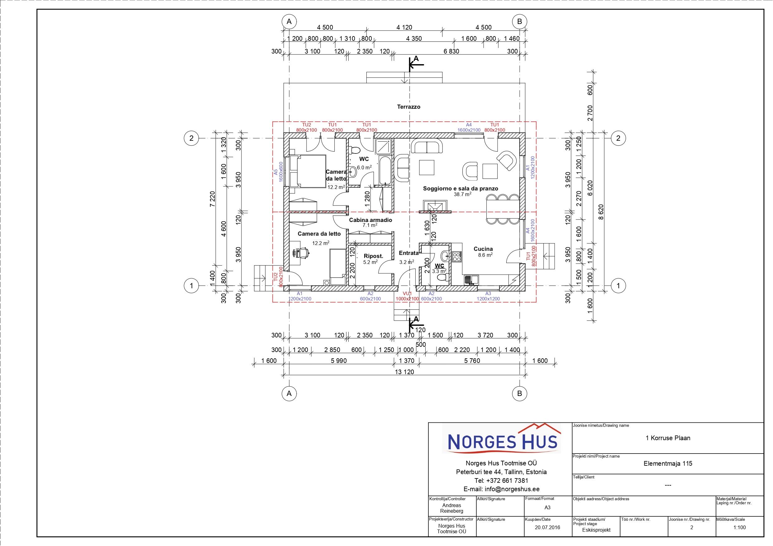 Planimetria della costruzione Casa in Legno modello MODELLO 115 di NORGES HUS
