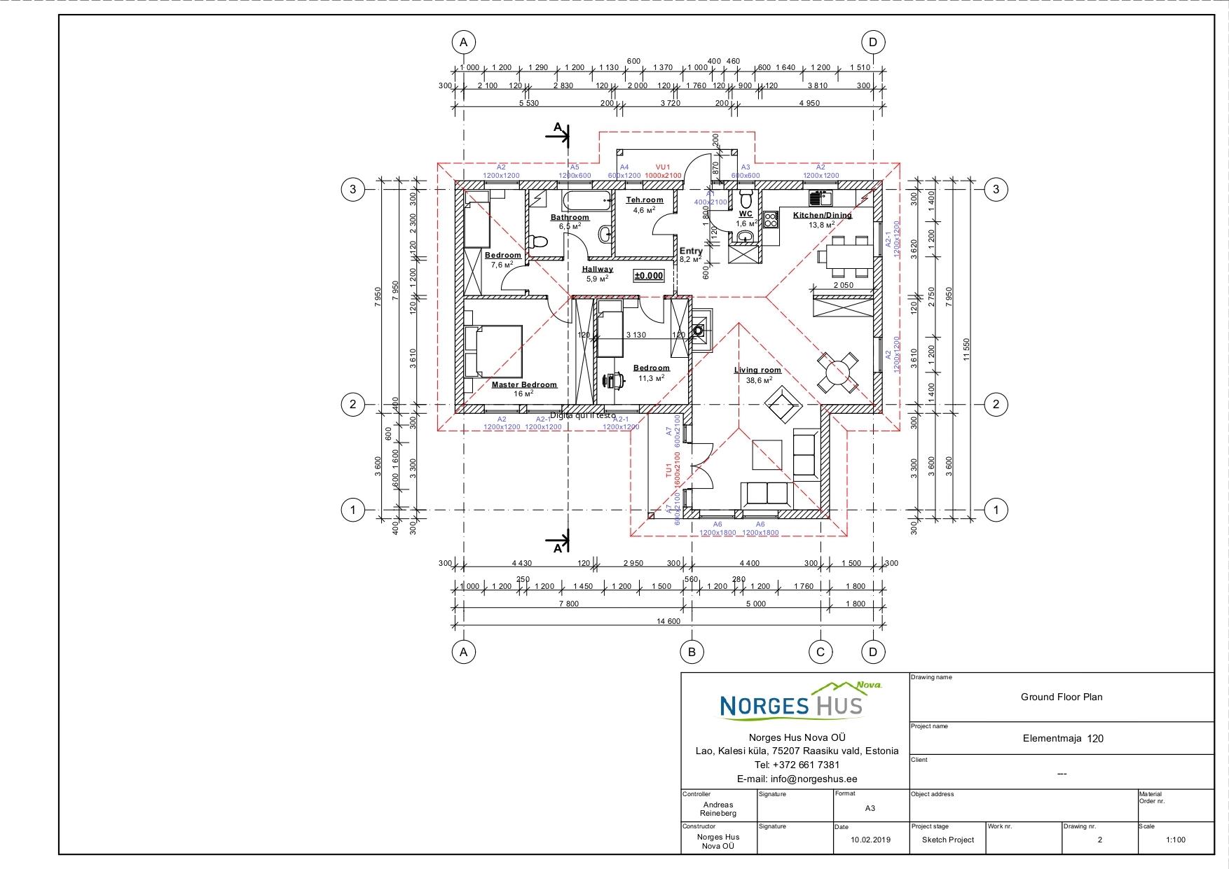 Planimetria della costruzione Casa in Legno modello MODELLO 120 di NORGES HUS
